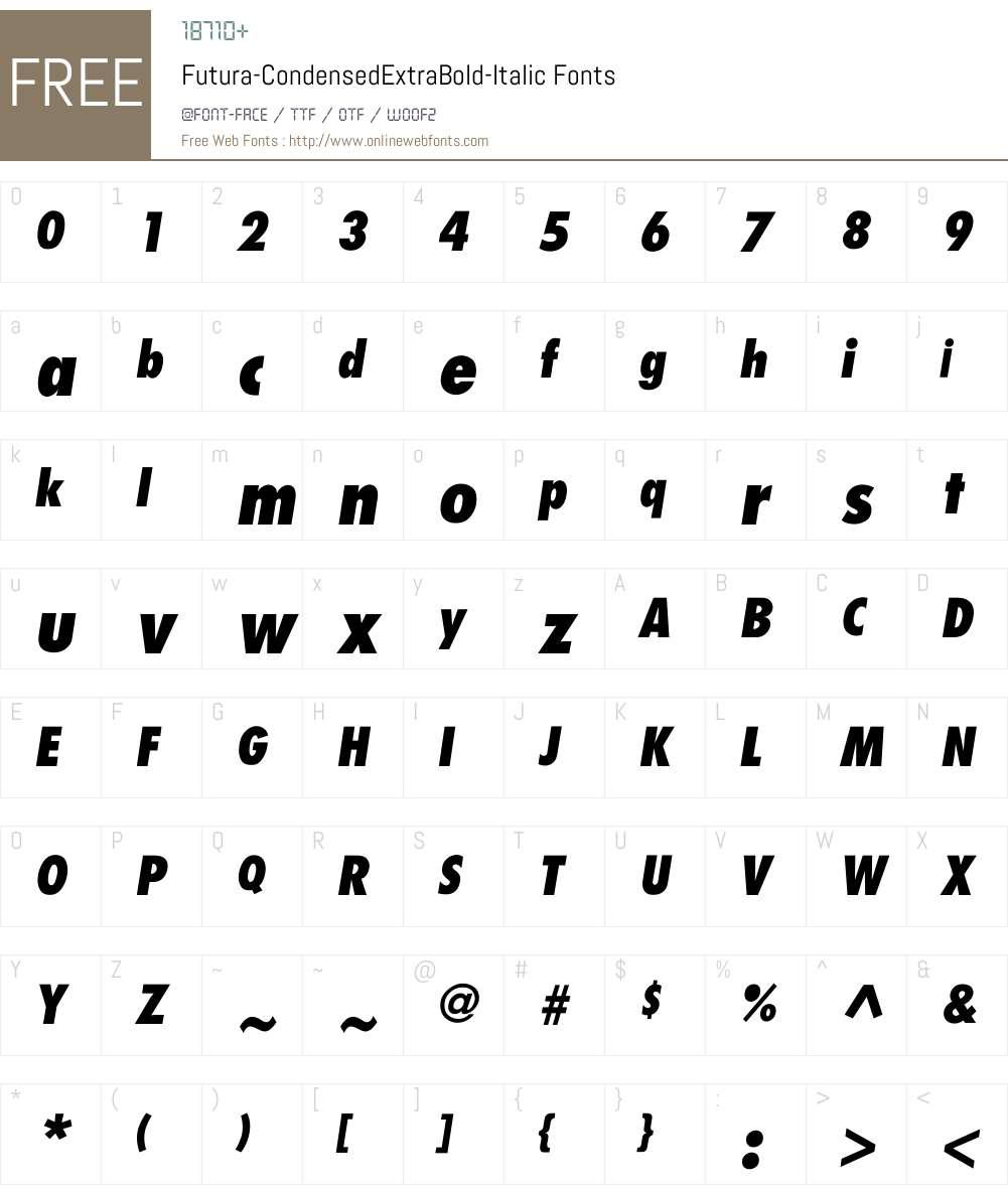 Futura-CondensedExtraBold-Italic Font Screenshots