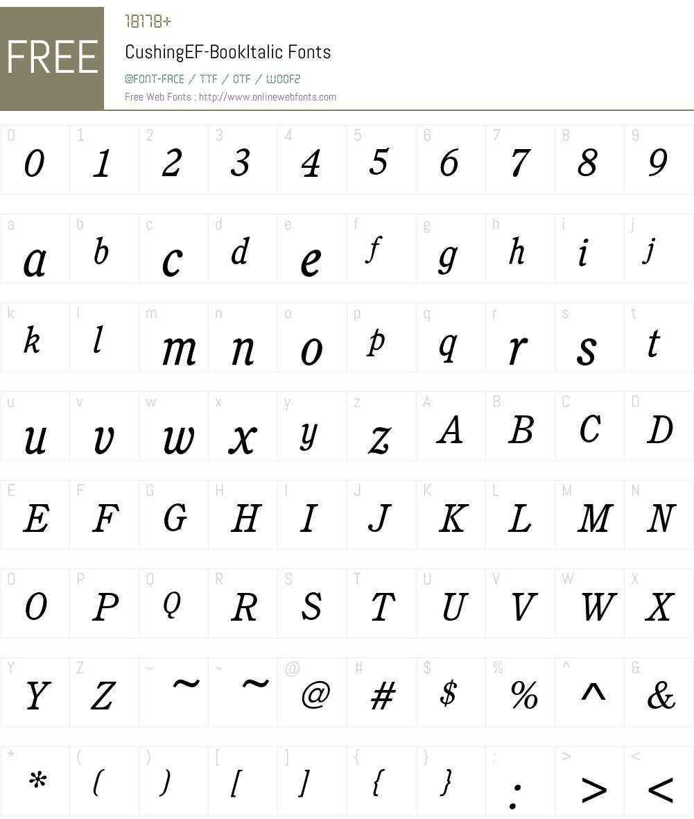 CushingEF-BookItalic Font Screenshots