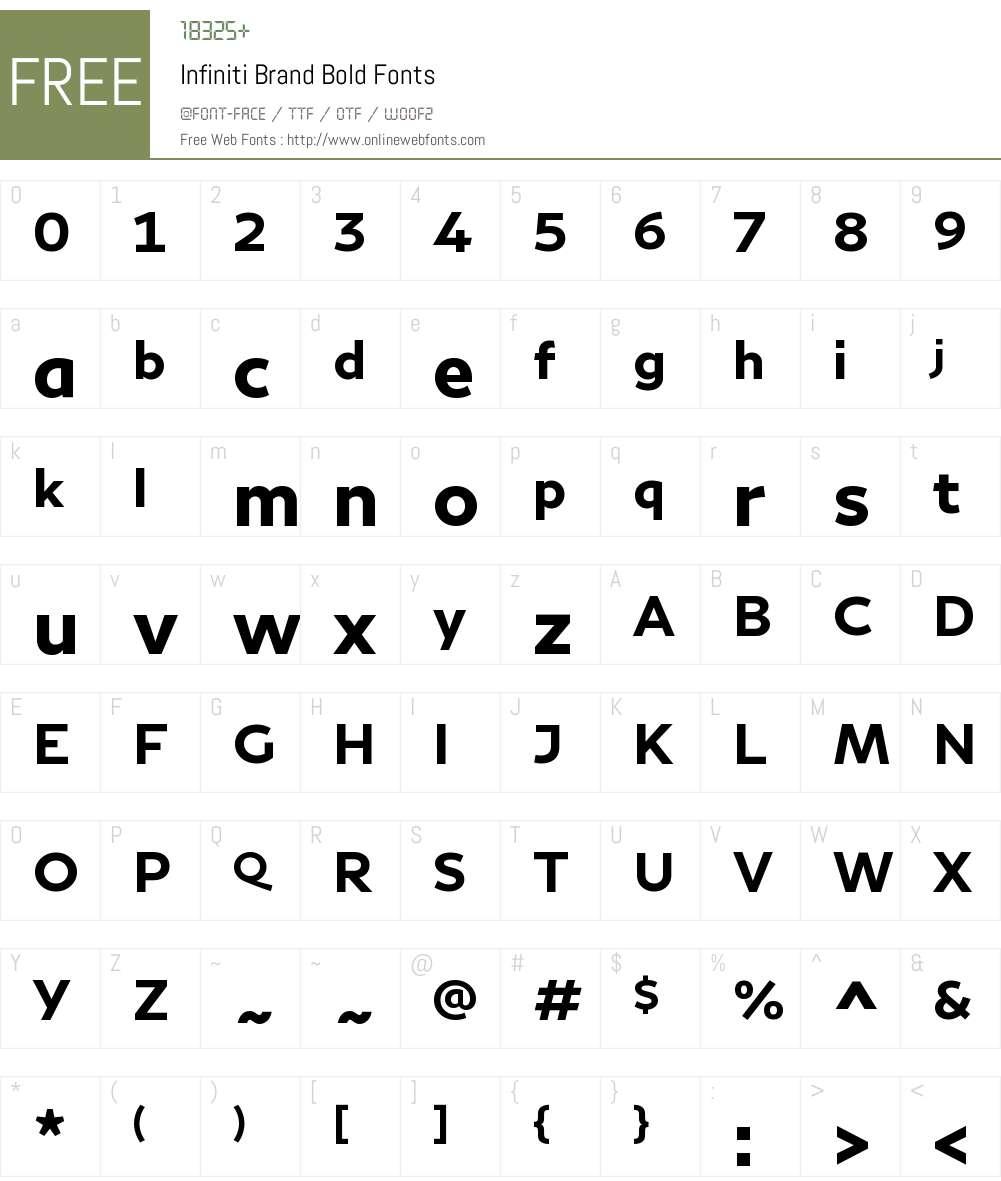 Infiniti Brand Font Screenshots