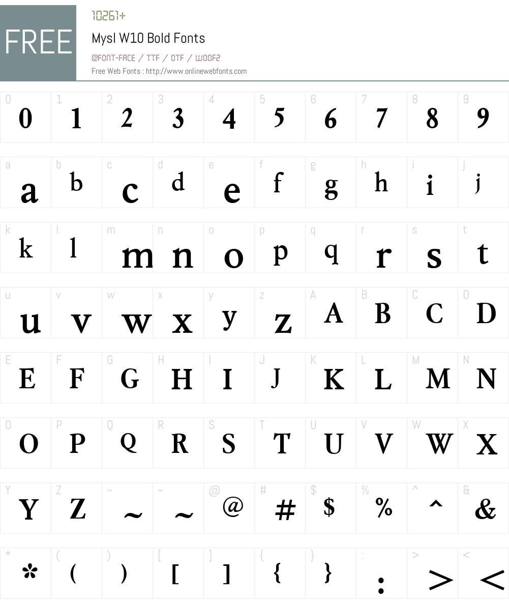 MyslW10-Bold Font Screenshots