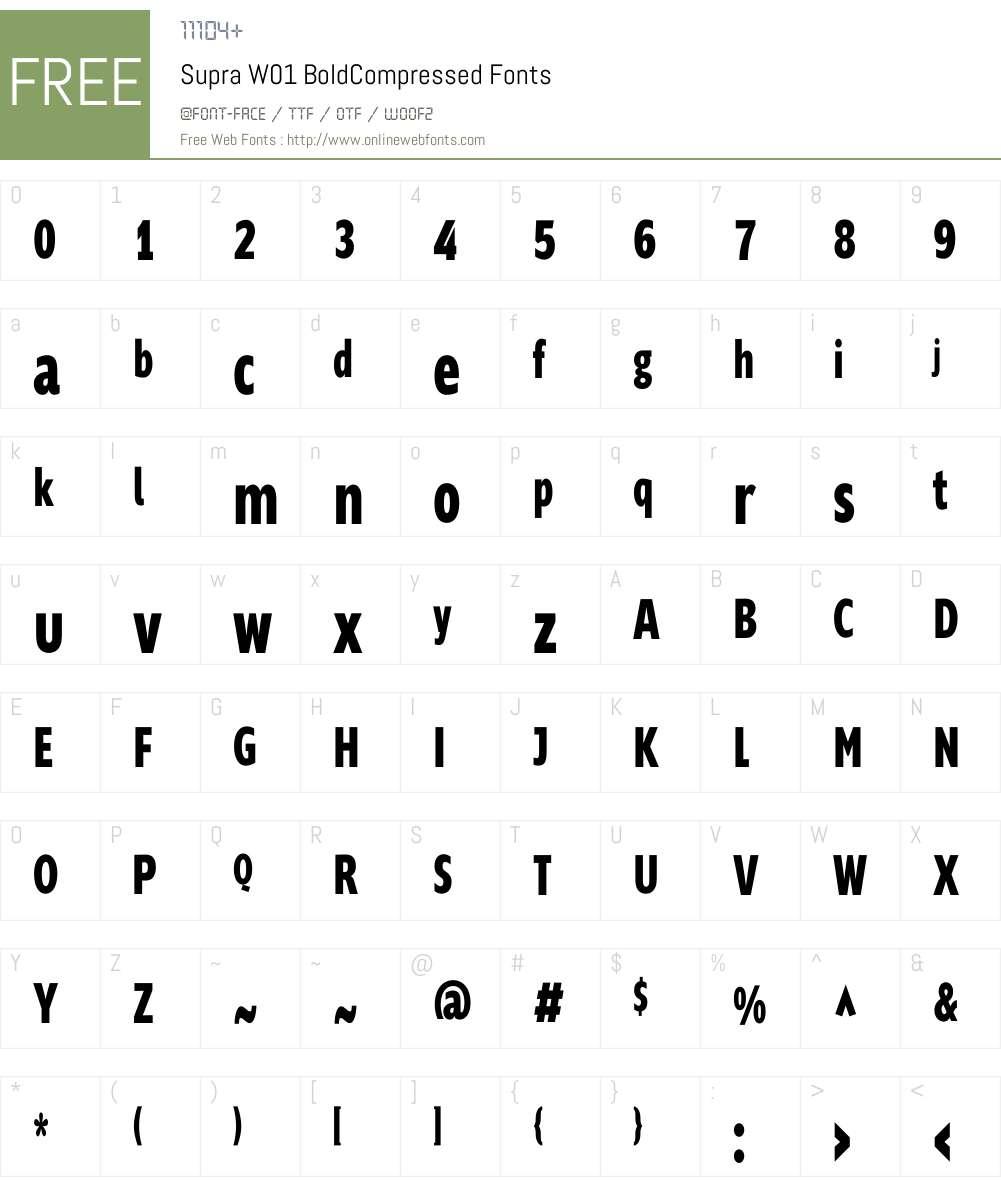 SupraW01-BoldCompressed Font Screenshots