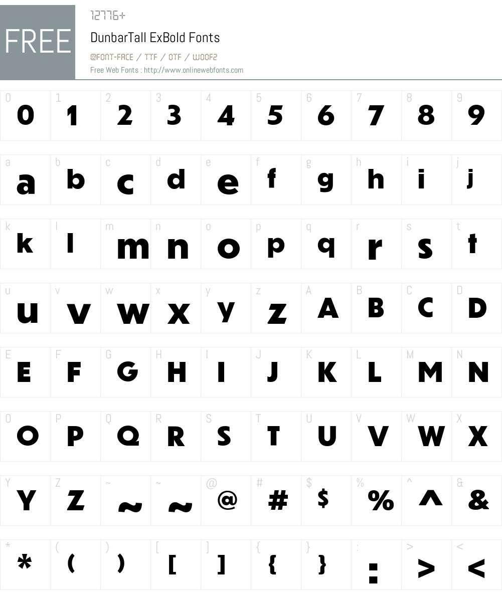 DunbarTall ExBold Font Screenshots