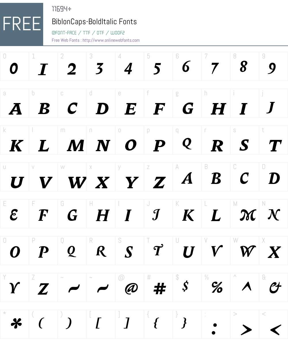 BiblonCaps Font Screenshots