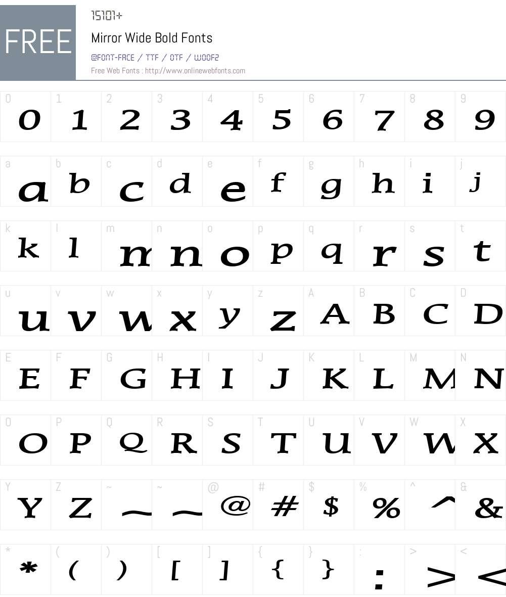 Mirror Wide Font Screenshots