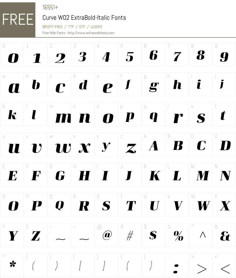 CurveW02-ExtraBold-Italic Font Screenshots