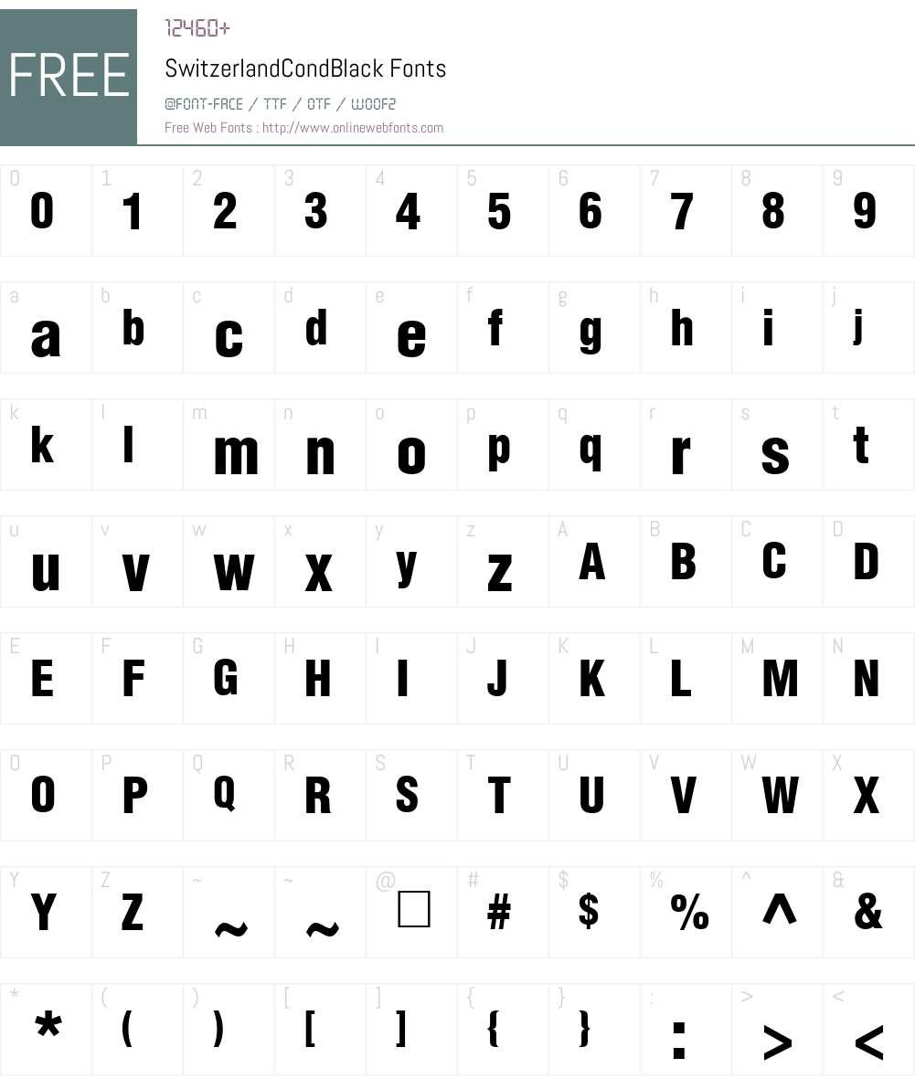 SwitzerlandCondBlack Font Screenshots