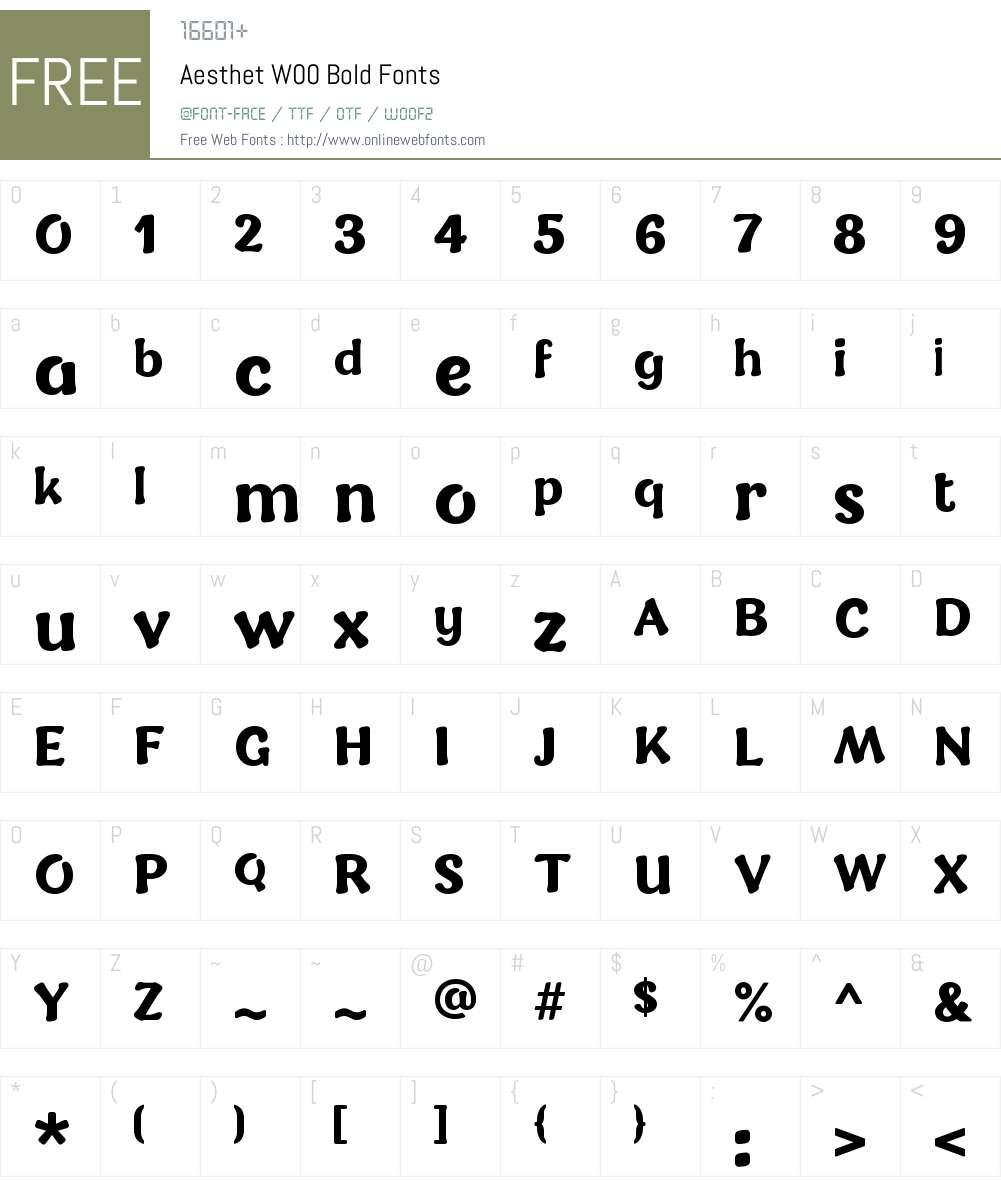 AesthetW00-Bold Font Screenshots