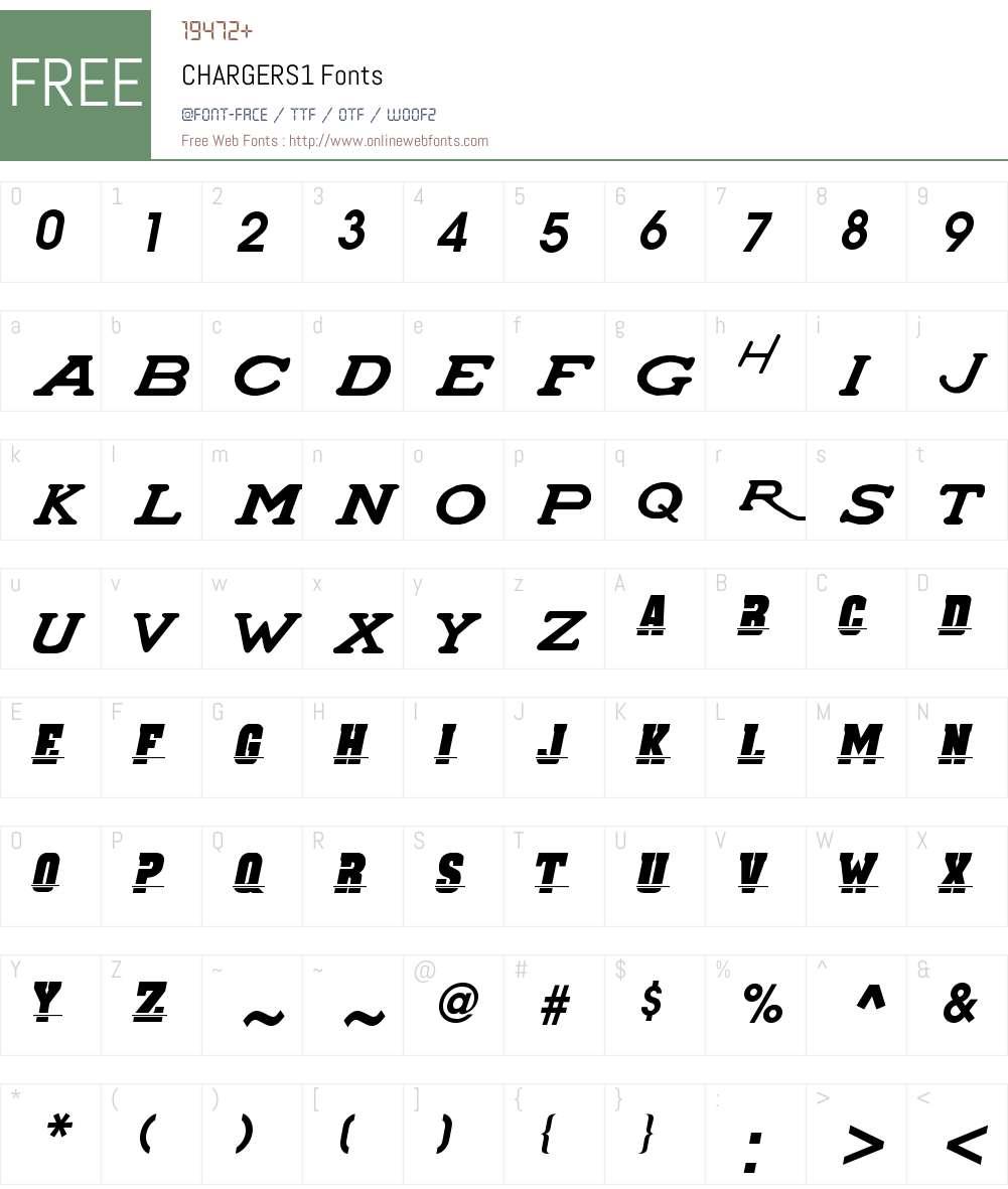 CHARGERS1 Font Screenshots