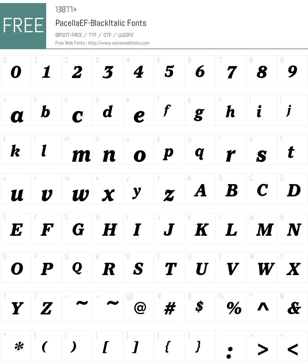 PacellaEF-BlackItalic Font Screenshots