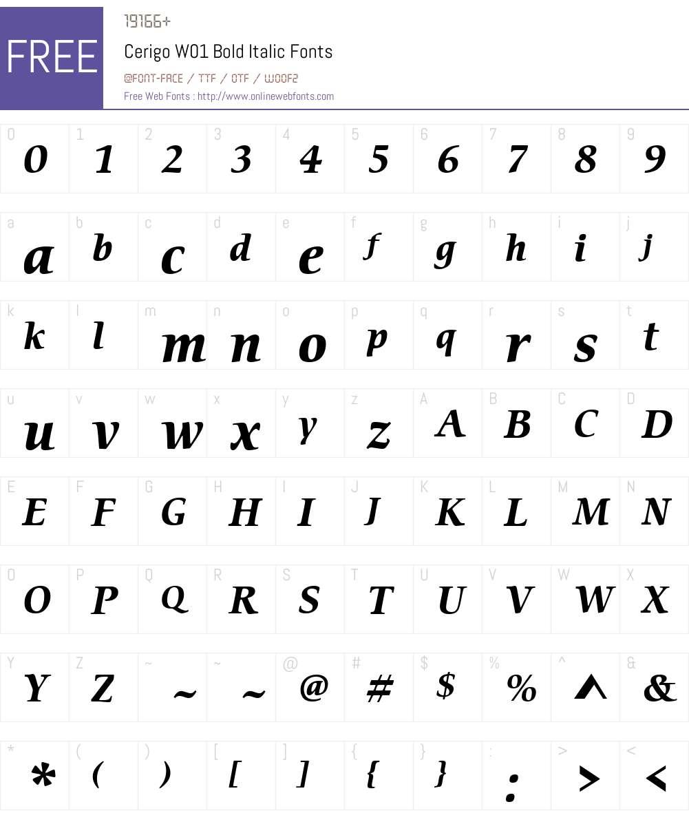 CerigoW01-BoldItalic Font Screenshots