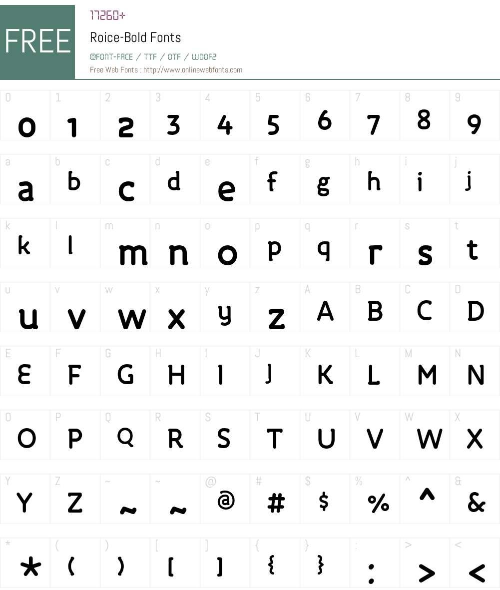 Roice-Bold Font Screenshots