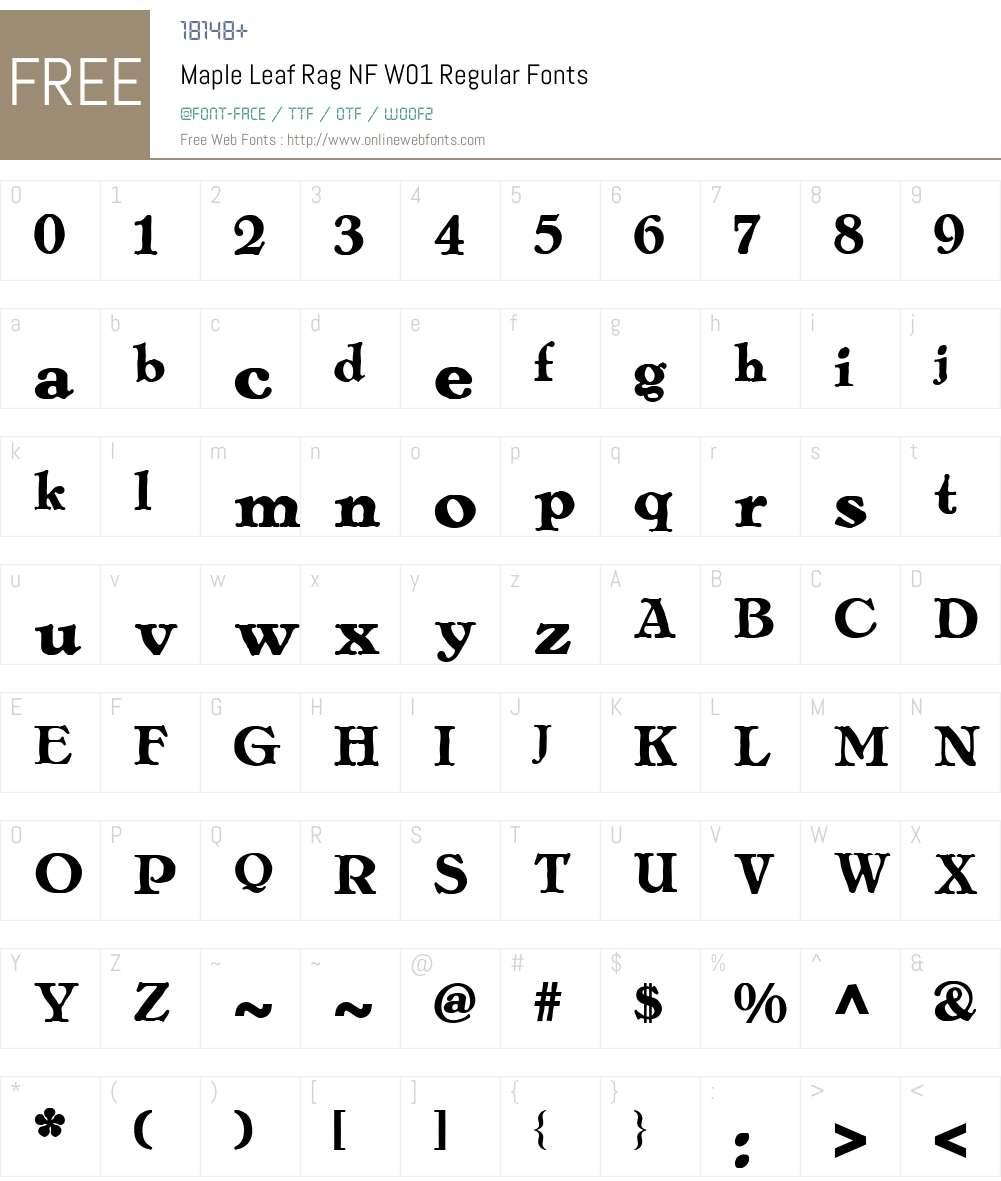 MapleLeafRagNFW01-Regular Font Screenshots