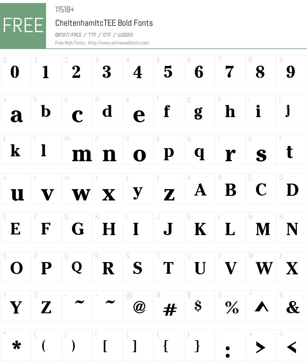 CheltenhamItcTEE Font Screenshots