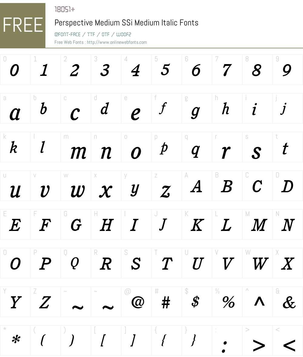 Perspective Medium SSi Font Screenshots