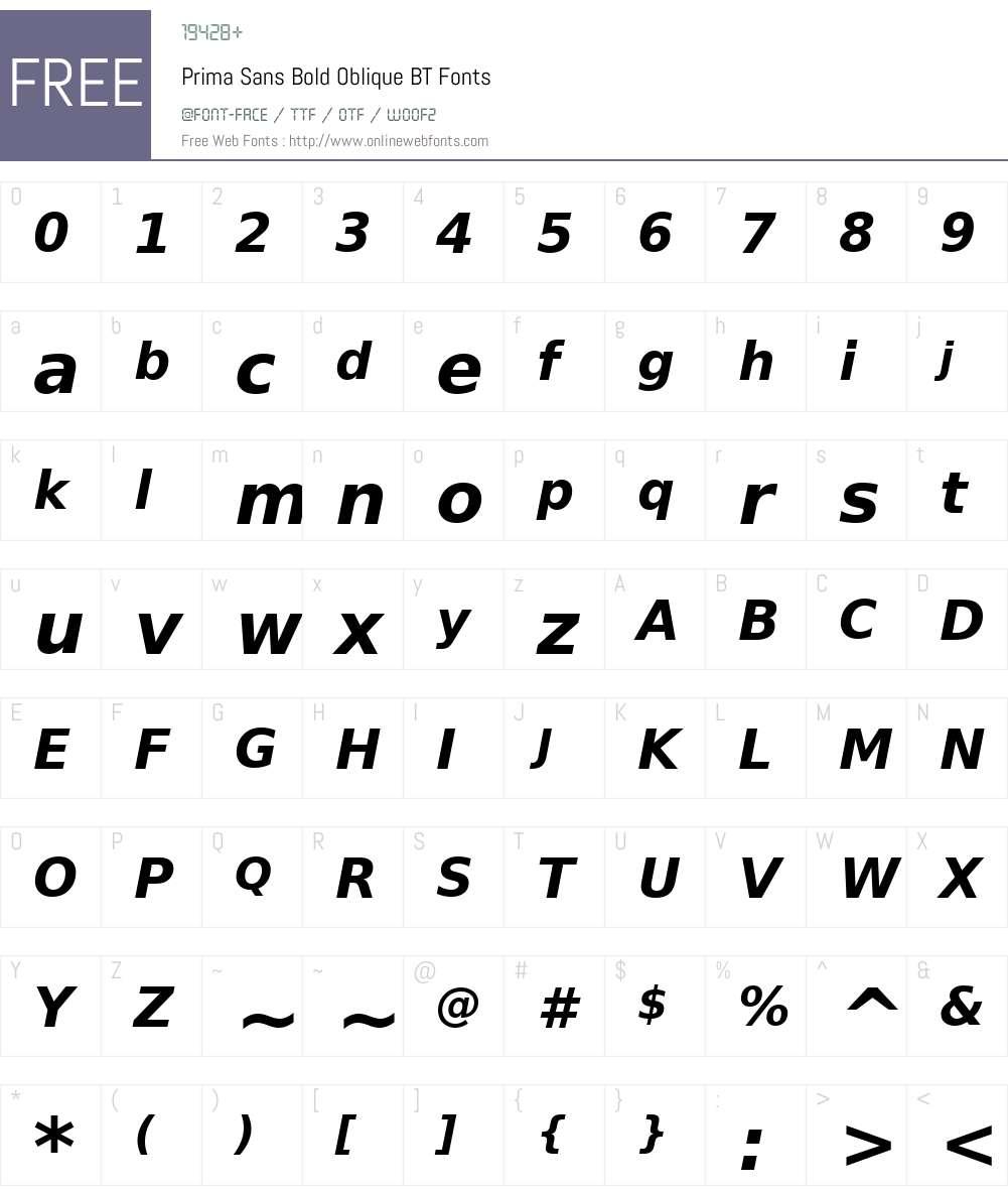PrimaSans BT Font Screenshots