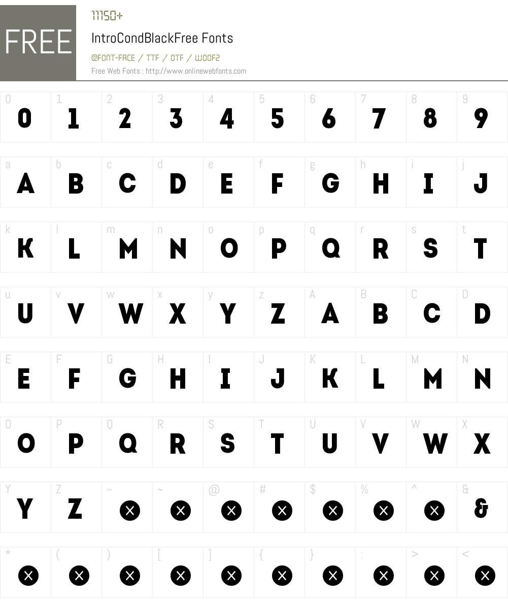 Intro Cond Black Free Font Screenshots