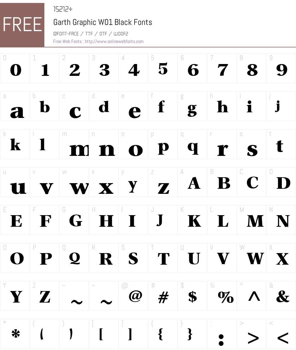 GarthGraphicW01-Black Font Screenshots