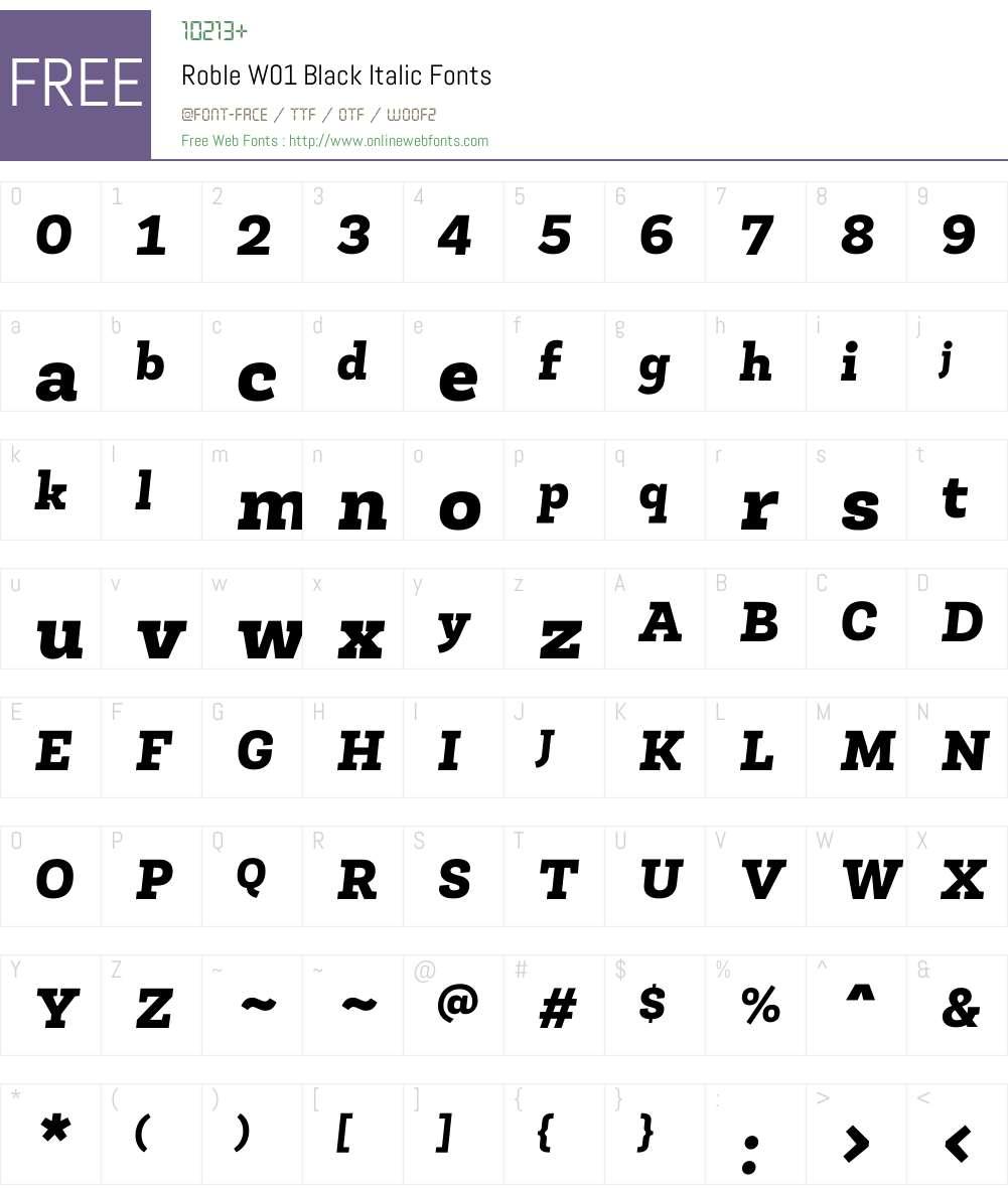 RobleW01-BlackItalic Font Screenshots