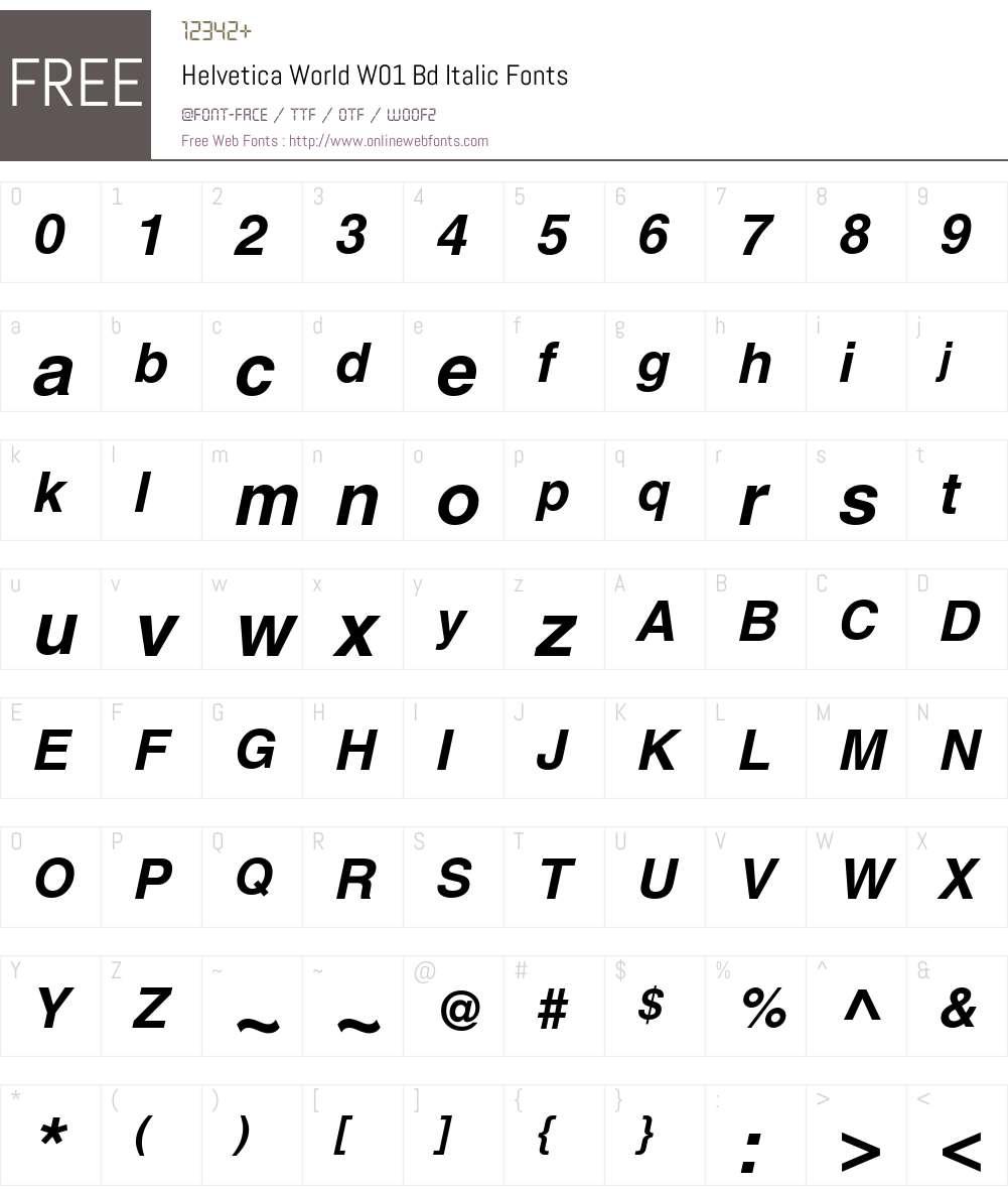 HelveticaWorldW01-BdIt Font Screenshots