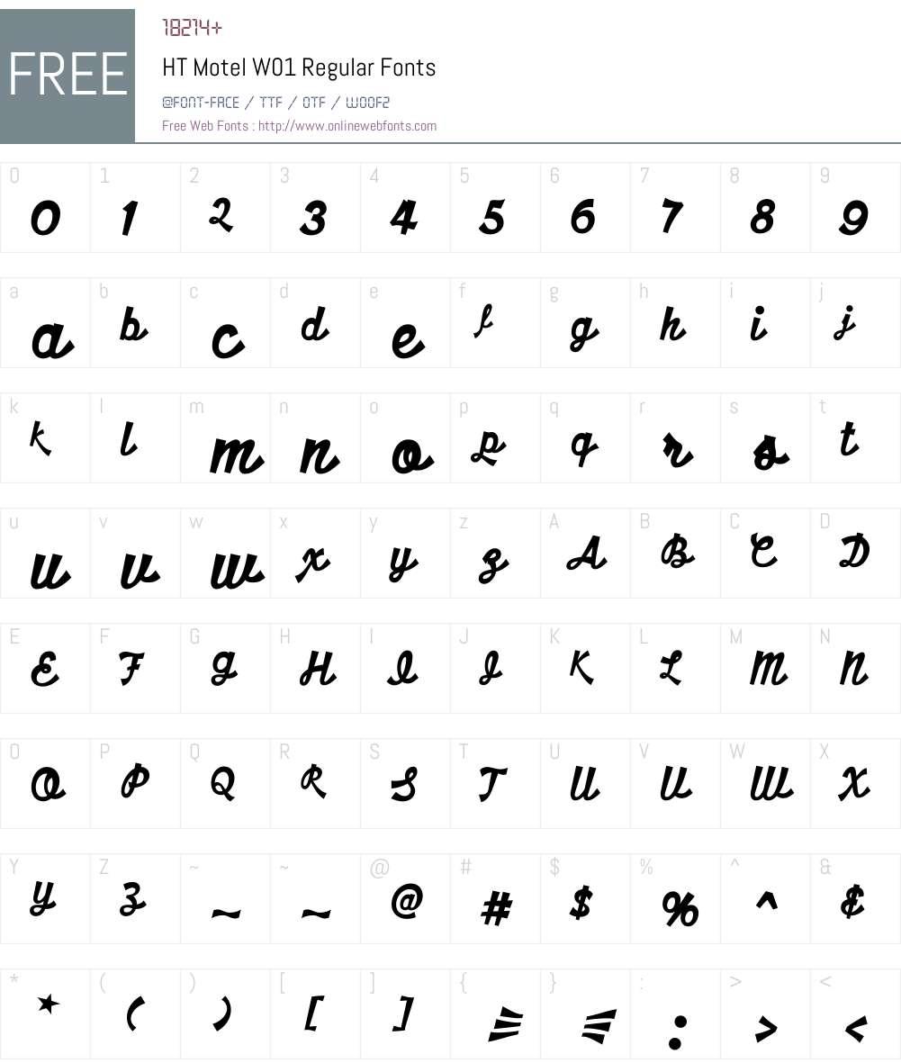 HTMotelW01-Regular Font Screenshots