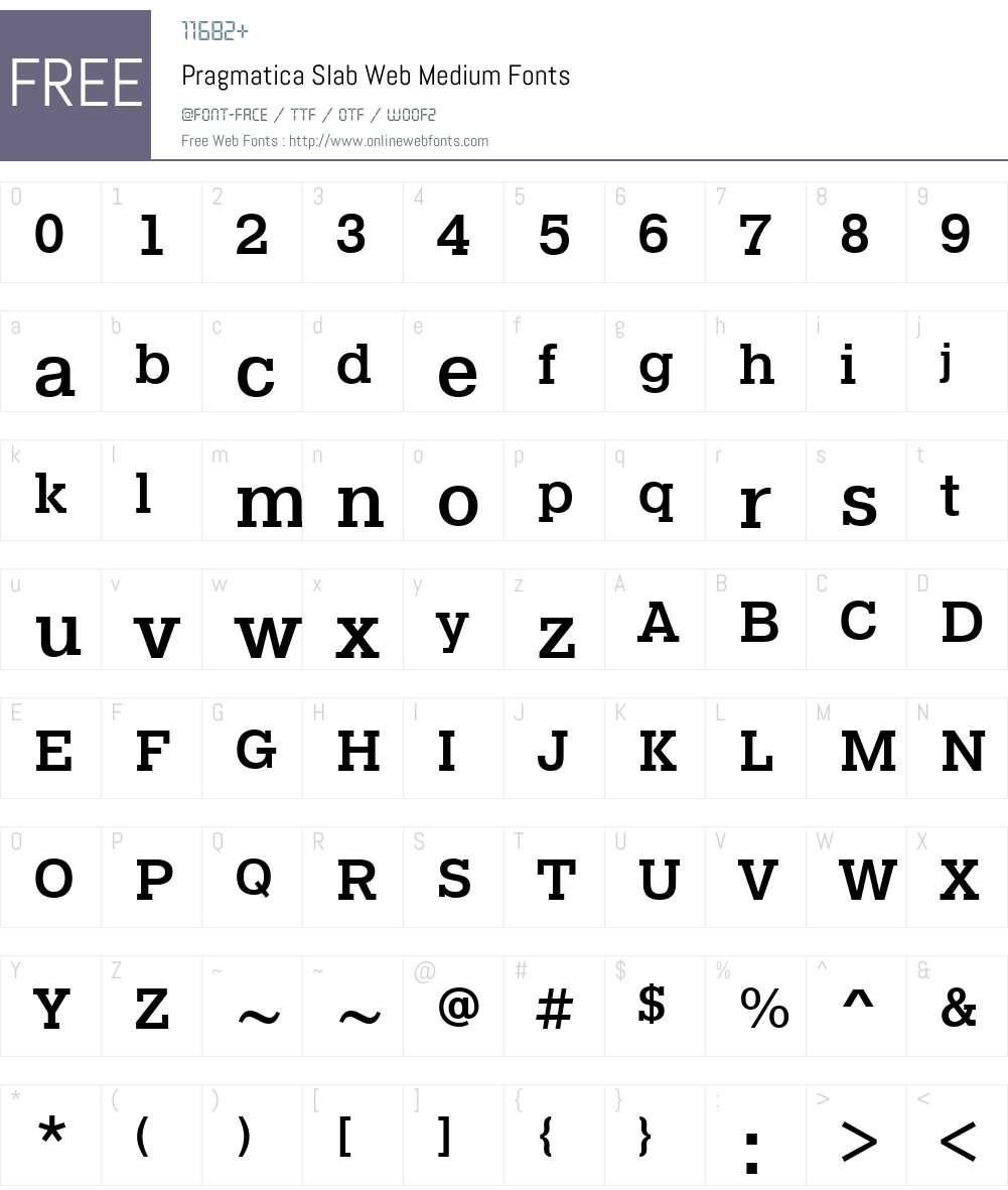 Pragmatica Slab Web Medium Font Screenshots