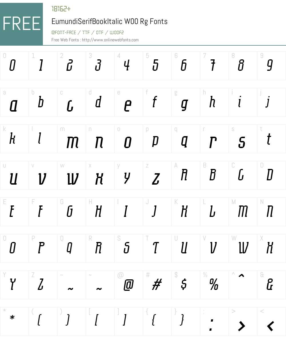 EumundiSerifBookItalicW00 Font Screenshots