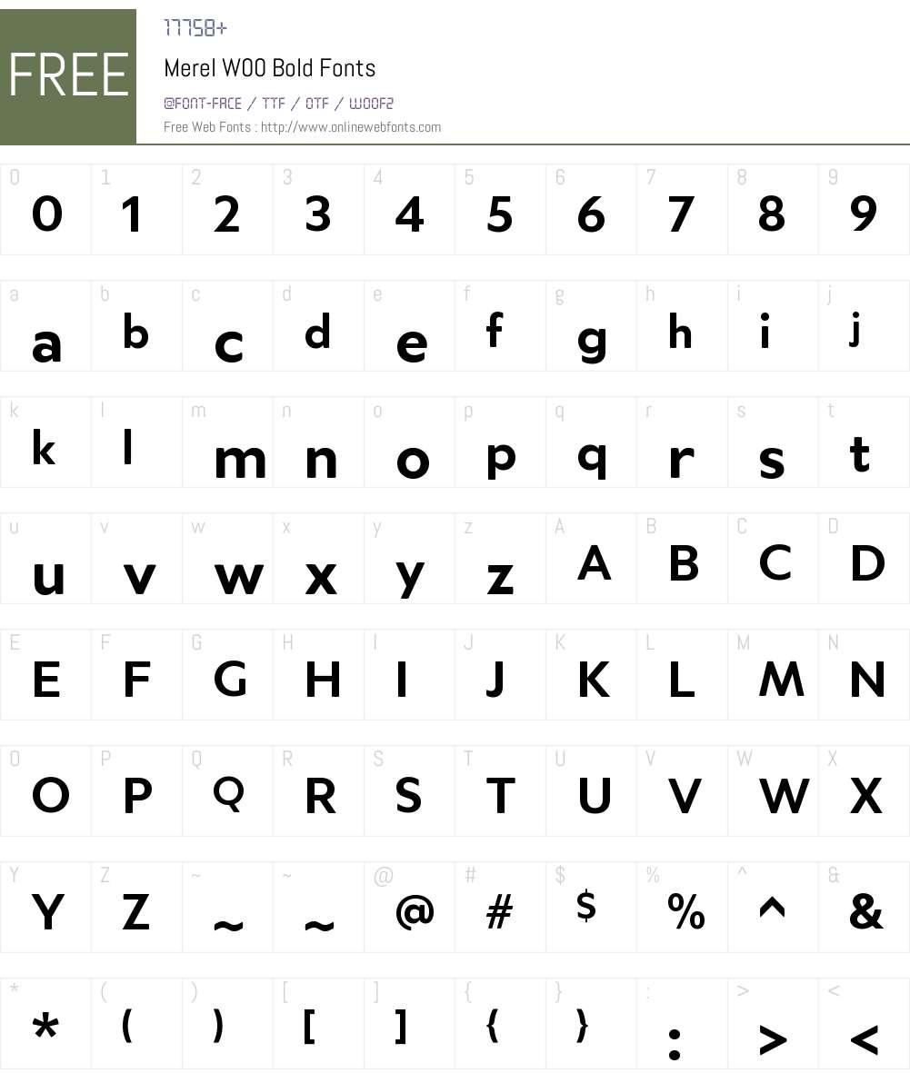 MerelW00-Bold Font Screenshots
