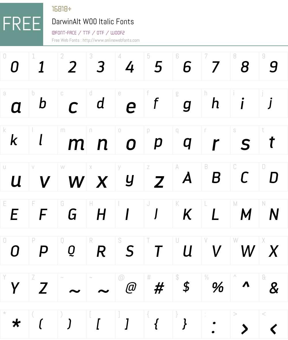 DarwinAltW00-Italic Font Screenshots