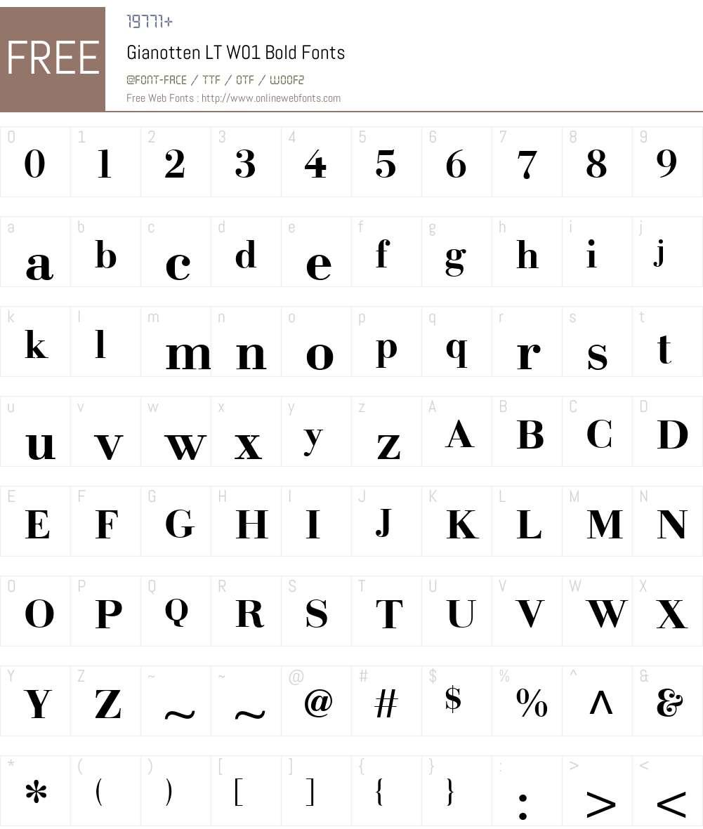 GianottenLTW01-Bold Font Screenshots