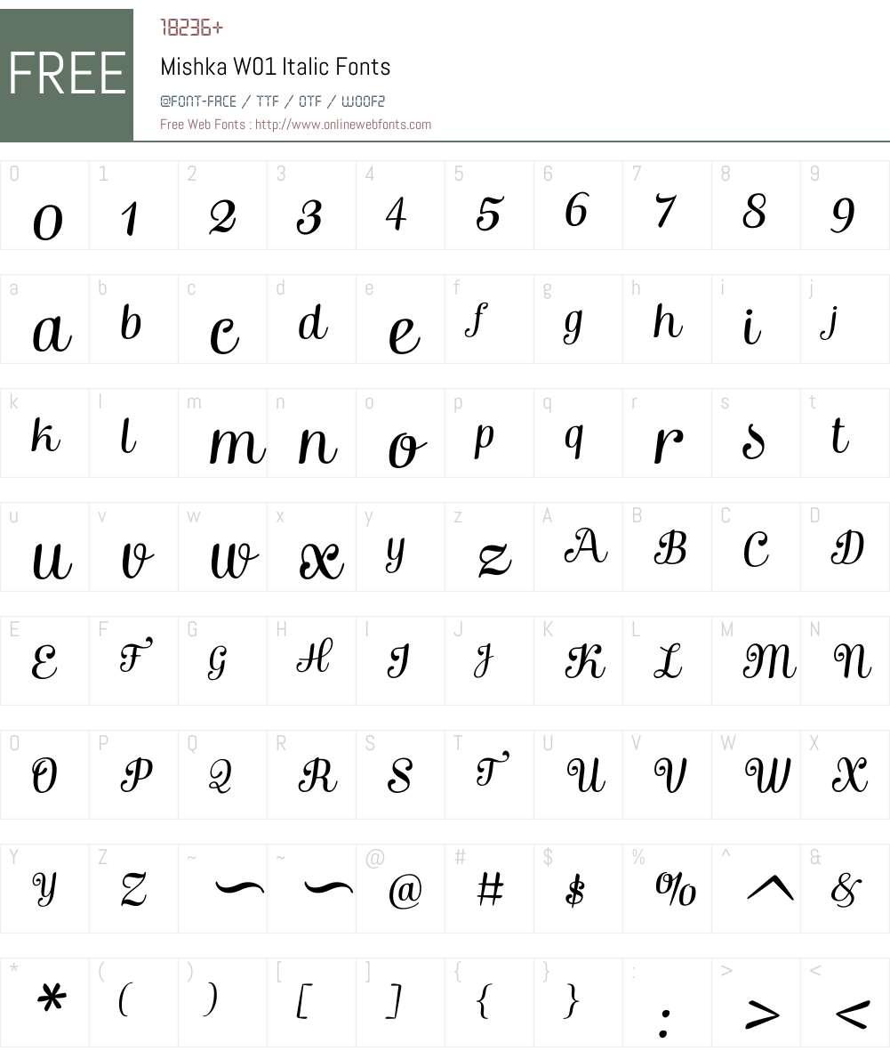 MishkaW01-Italic Font Screenshots