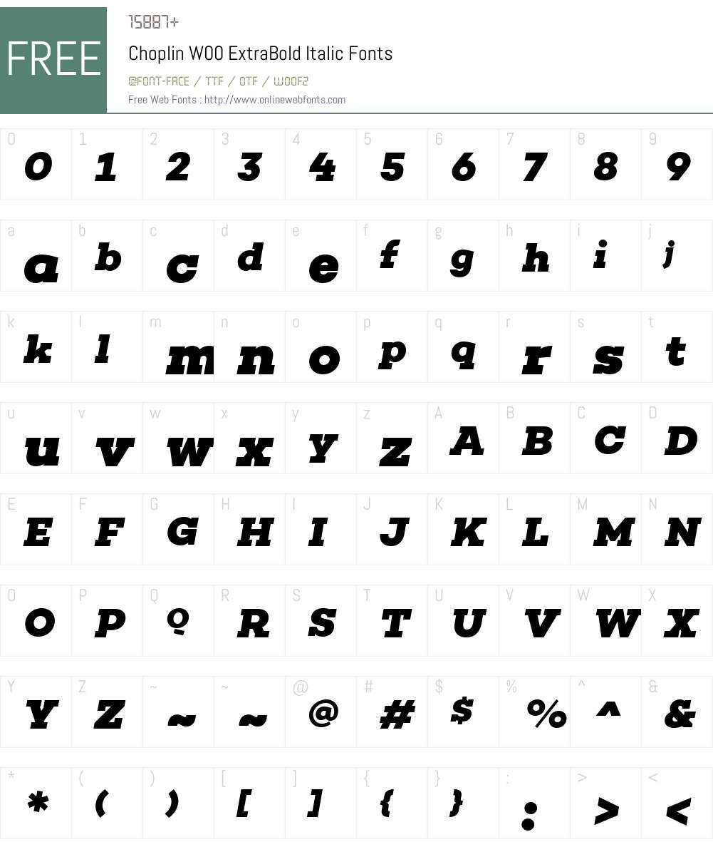 ChoplinW00-ExtraBoldItalic Font Screenshots