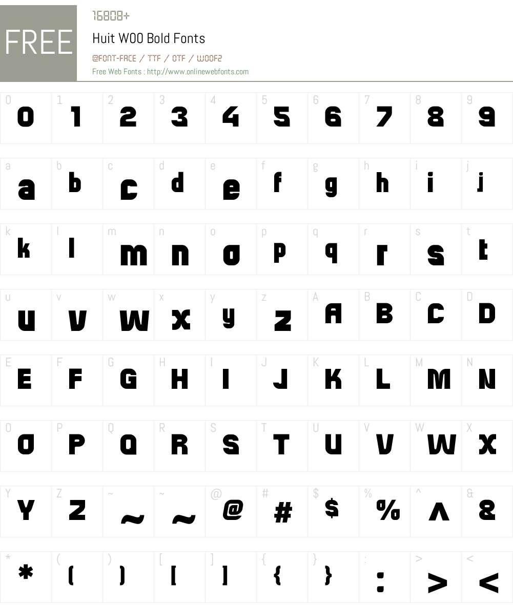 HuitW00-Bold Font Screenshots