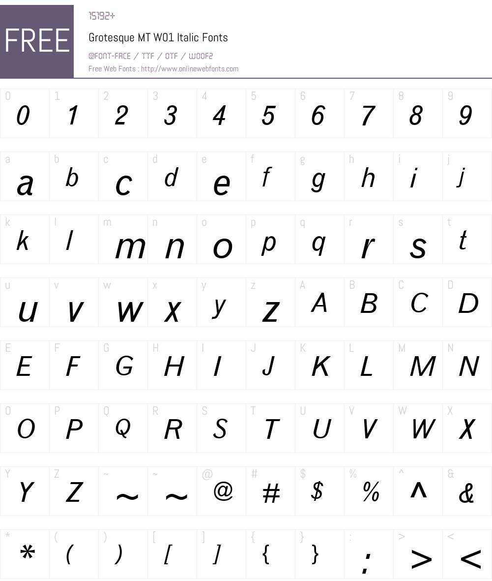 GrotesqueMTW01-Italic Font Screenshots