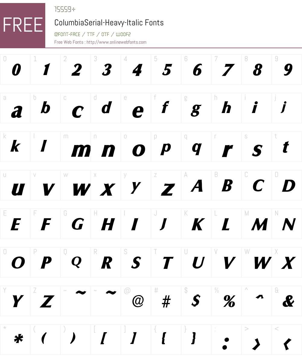 ColumbiaSerial-Heavy Font Screenshots