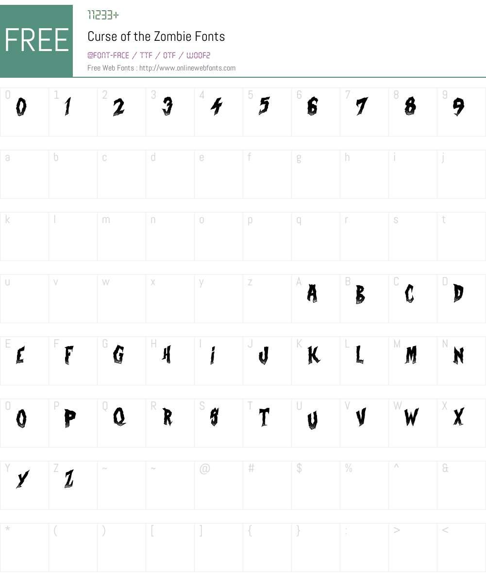Curse of the Zombie Font Screenshots