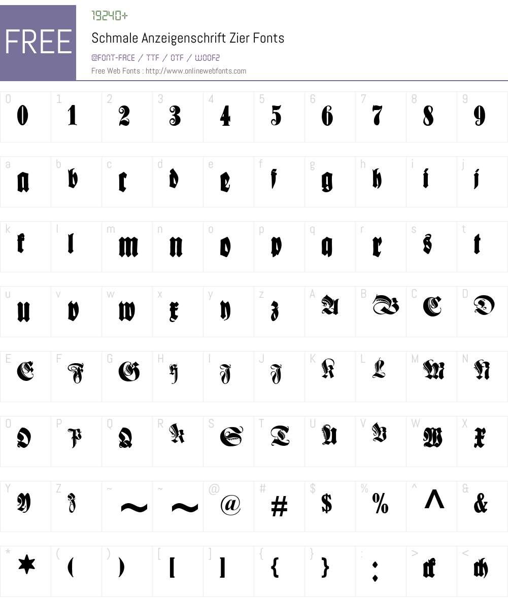 Schmale Anzeigenschrift Zier Font Screenshots