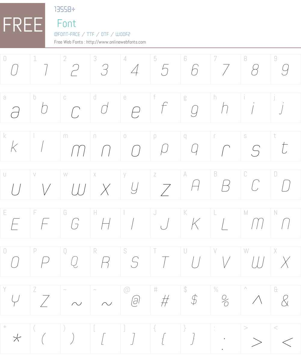 SpoonW01-HairlineItalic Font Screenshots