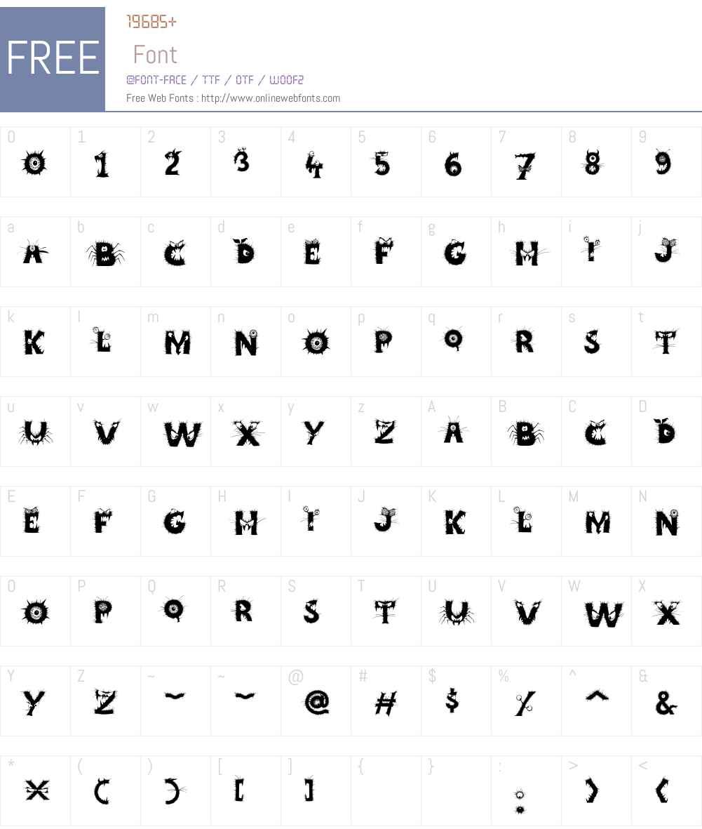 CCCreepyCrawlyW00-Regular Font Screenshots