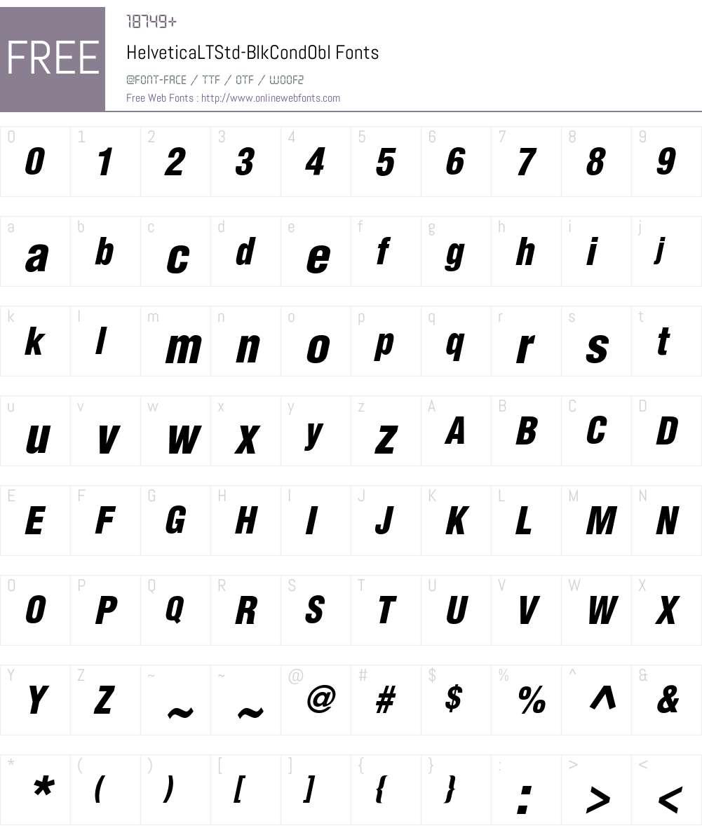 Helvetica LT Std Cond Blk Font Screenshots