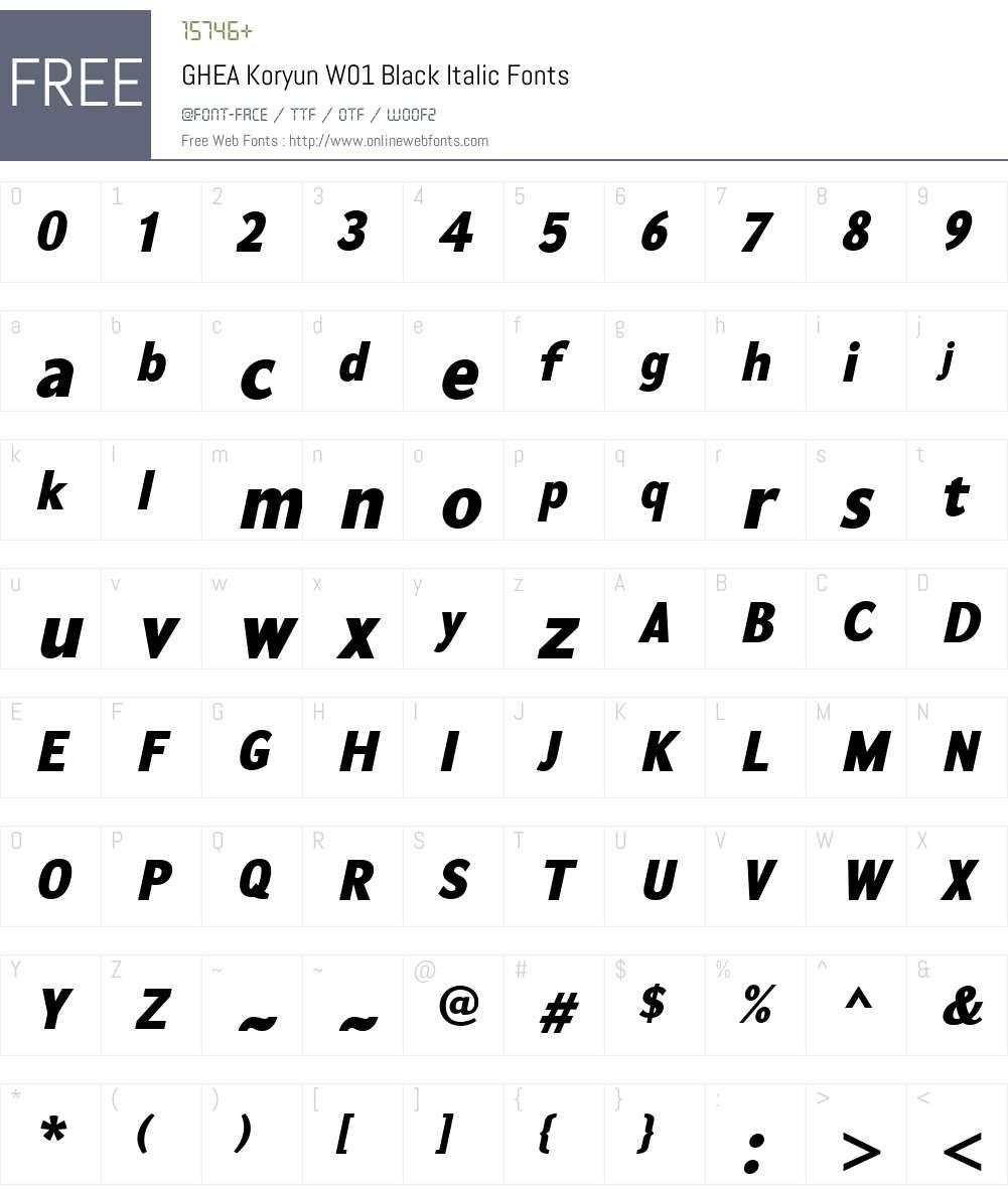 GHEAKoryunW01-BlackItalic Font Screenshots