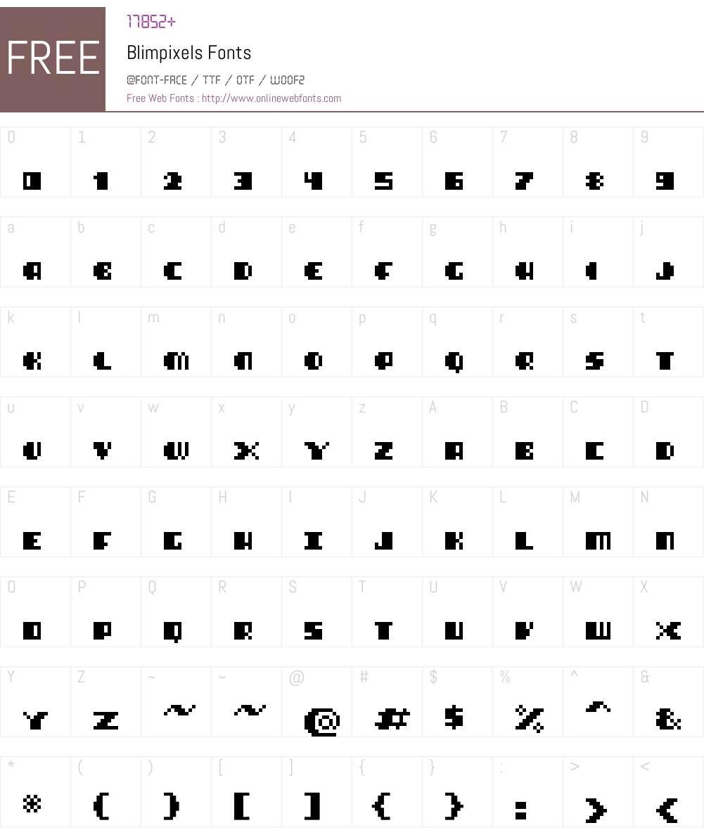 Blimpixels Font Screenshots