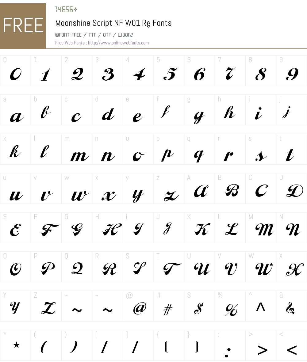 MoonshineScriptNFW01-Rg Font Screenshots