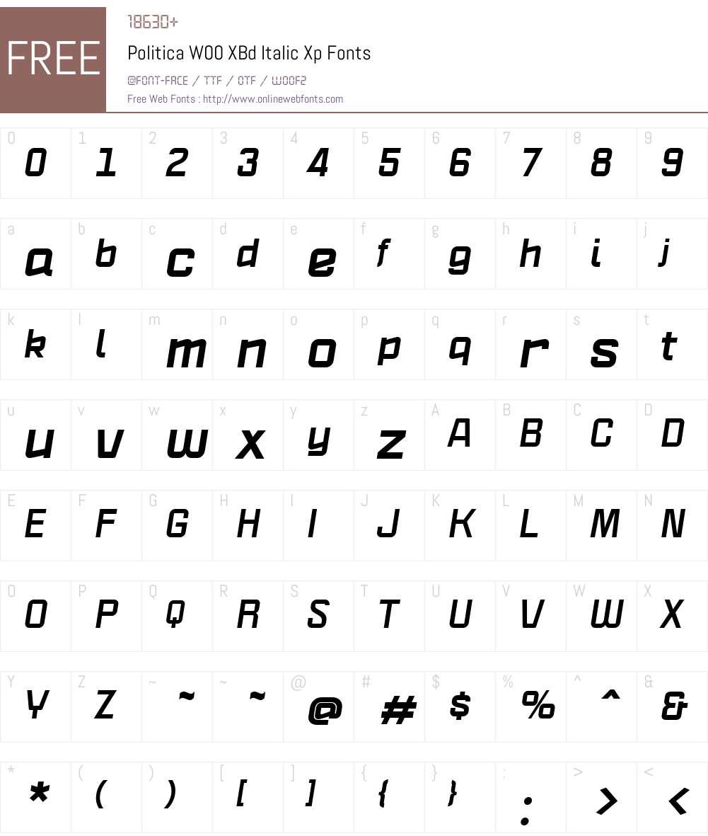 PoliticaW00-XBdItalicXp Font Screenshots