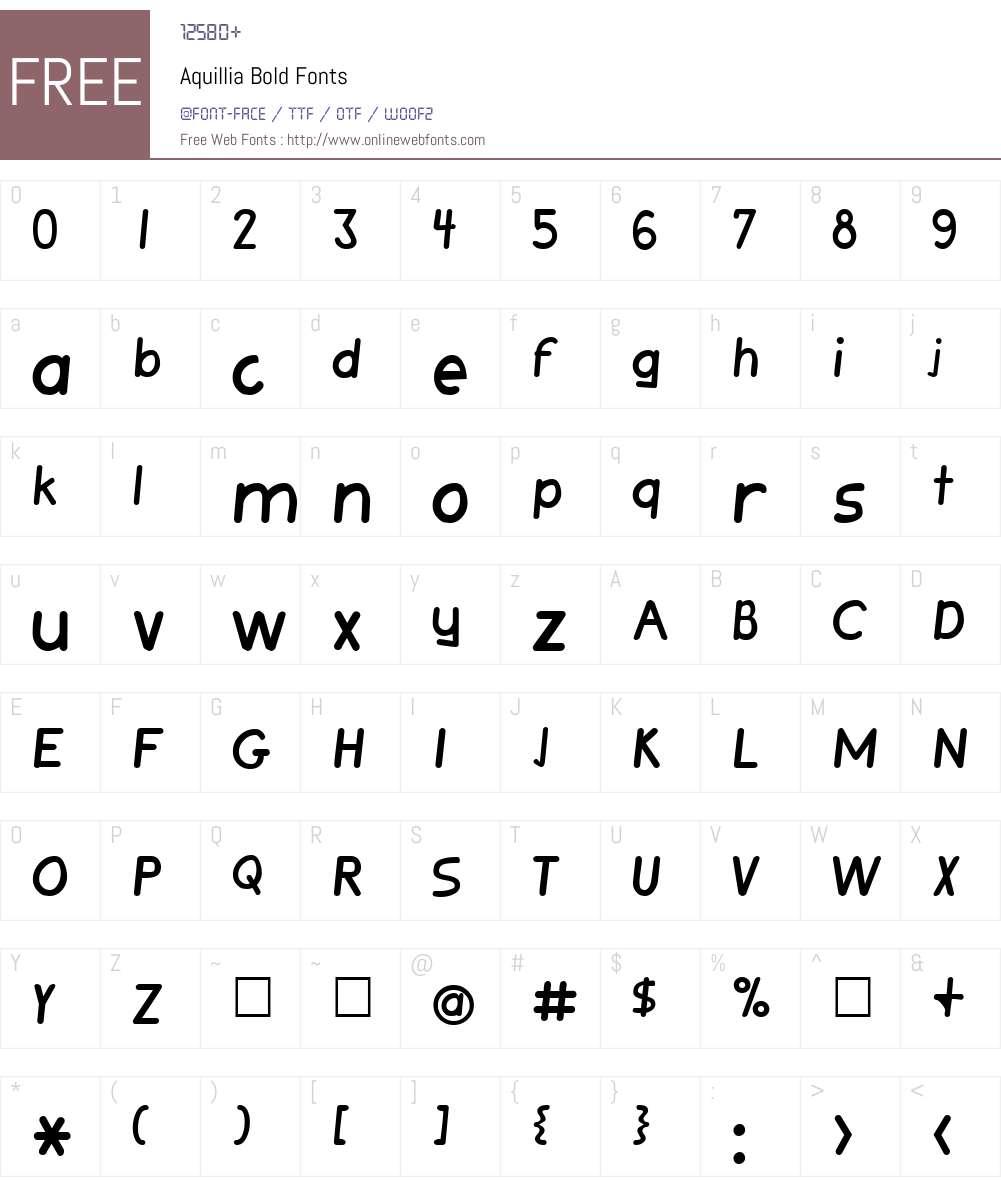 Aquillia Font Screenshots