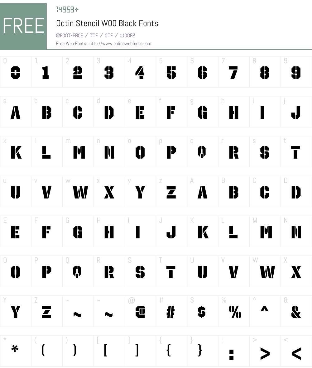 OctinStencilW00-Black Font Screenshots