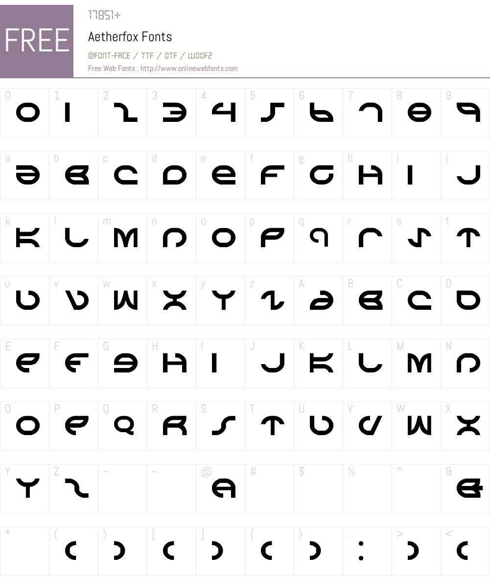 Aetherfox Font Screenshots