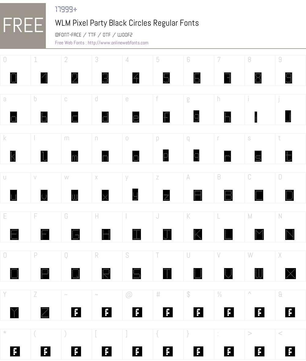 WLM Pixel Party Black Circles Font Screenshots