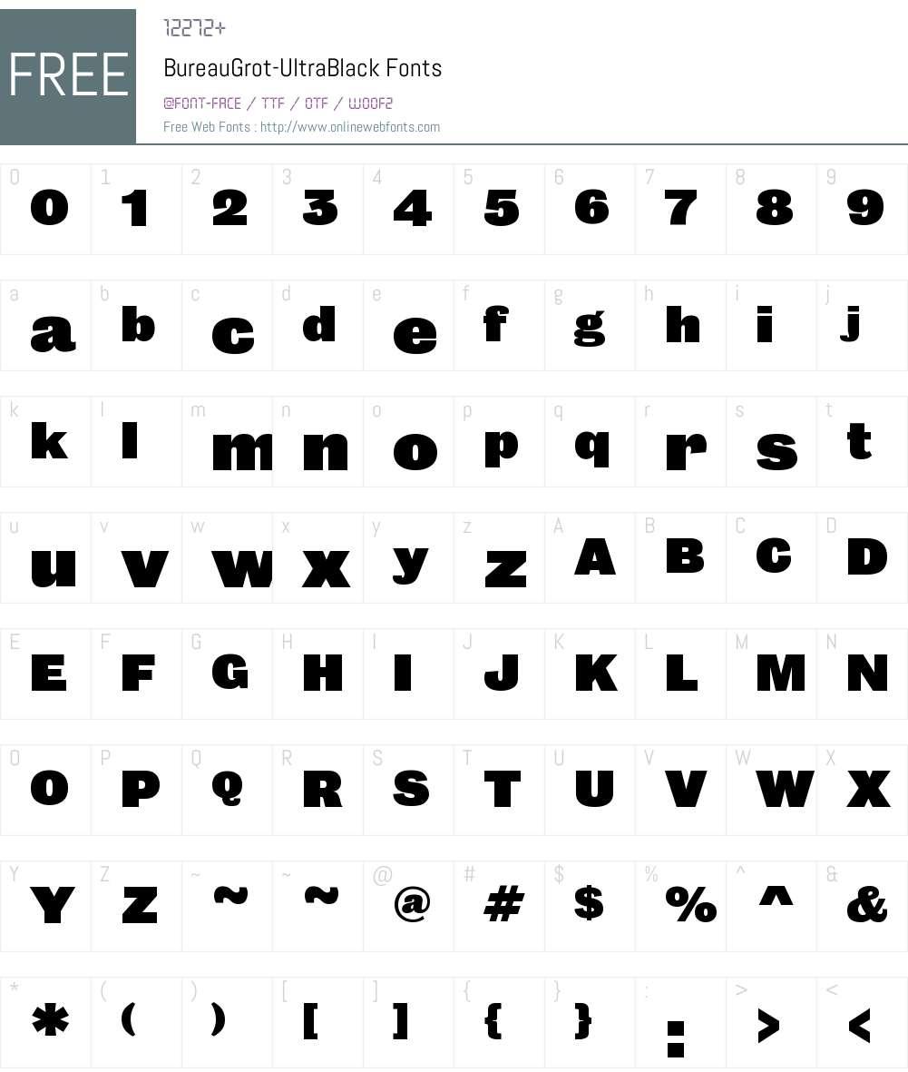 Bureau Grot UltraBlack Font Screenshots