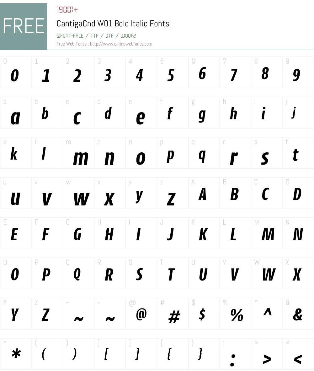 CantigaCndW01-BoldItalic Font Screenshots