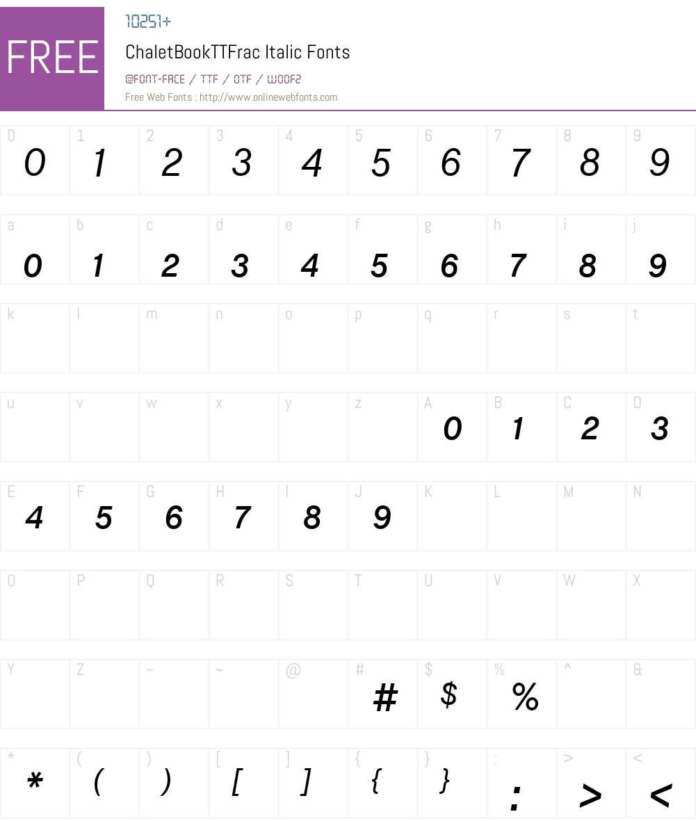 ChaletBookTTFrac Font Screenshots